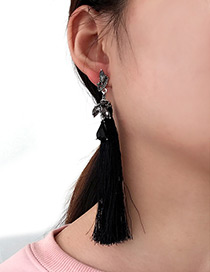 Bohemia Black Oval Shape Diamond Decorated Earrings