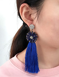 Bohemia Sapphire Blue Round Shape Decorated Tassel Earrings