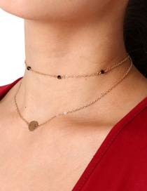 Fashion Gold Color Metal Round Shape Decorated Double-layer Necklace