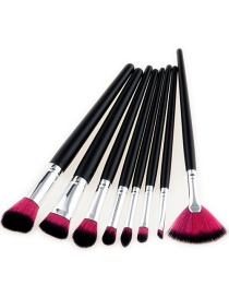 Fashion Black+plum-red Fan Shape Decorated Brushes (8pcs)