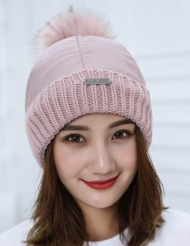 Trendy Pink Fuzzy Ball Decorated Pure Color Cap