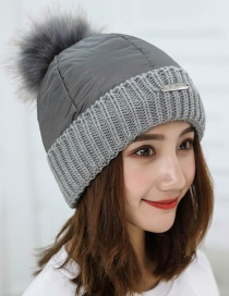 Trendy Gray Fuzzy Ball Decorated Pure Color Cap