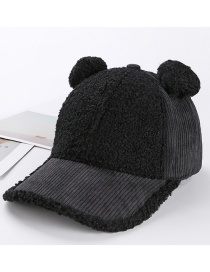 Trendy Black Cartoon Shape Design Pure Color Cap