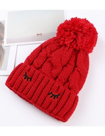 Trendy Red Embroidery Eyelashes Decorated Thicken Cap