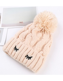Trendy Beige Embroidery Eyelashes Decorated Thicken Cap