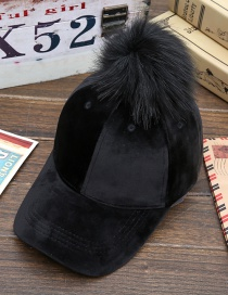Lovely Black Fuzzy Ball Decorated Hat