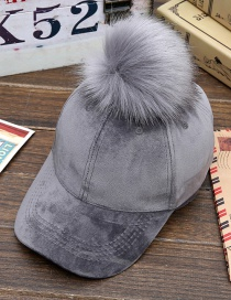 Lovely Gray Fuzzy Ball Decorated Hat