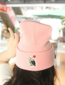 Lovely Pink Rose Shape Decorated Cap