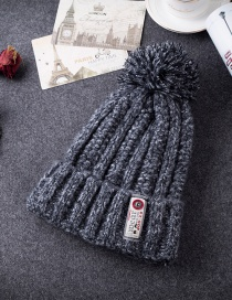 Fashion Dark Gray Patch Shape Decorated Cap