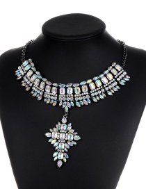 Vintage Multi-color Geometric Shape Diamond Decorated Necklace