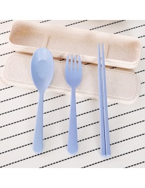 Fashion Blue Pure Color Decorated Tableware Sets(3 Pcs)