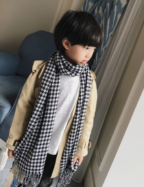 Fashion White+black Color-matching Decorated Children Tassel Scarf