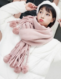 Lovely Pink Fuzzy Ball Decorated Tassel Scarf