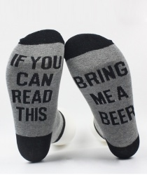 Fashion Gray+black Letter Shape Decorated Sock