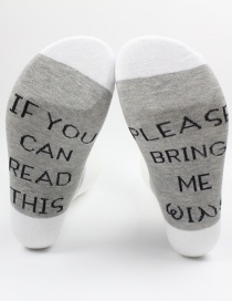 Fashion Gray+white Letter Shape Decorated Sock