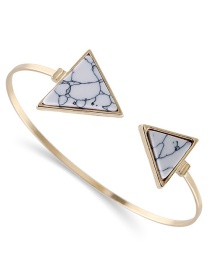 Fashion White Biger Triangle Shape Decorated Opening Bracelet