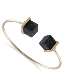 Fashion Black Square Shape Decorated Opening Bracelet