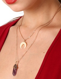 Personality Gold Color Moon Shape Decorated Double-layer Necklace