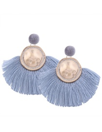 Bohemia Light Blue Metal Round Shape Decorated Tassel Earrings