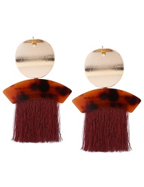 Exaggerated Red Metal Round Shape Decorated Tassel Earrings