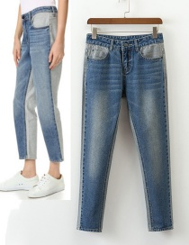 Fashion Blue High-waist Decorated Simple Jeans