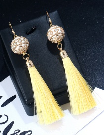 Vintage Yellow+white Ball Shape Decorated Earrings