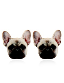 Vintage Khaki Dog Shape Decorated Earrings
