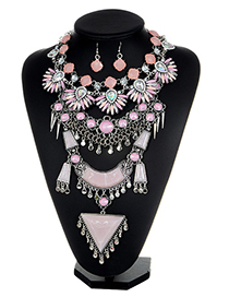 Exaggerated Pink Triangle Shape Decorated Necklace
