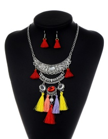 Bohemia Multi-color Oval Shape Decorated Tassel Jewelry Set