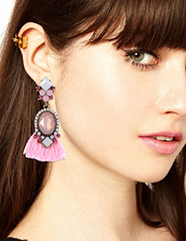 Bohemia Pink Oval Shape Decorated Earrings