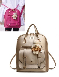 Fashion Gold Color Bear Decorated Backpack