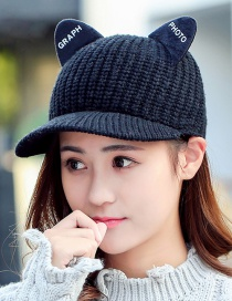 Fashion Navy Cat Ear Decorated Baseball Cap