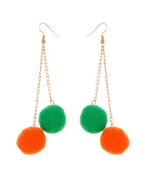Fashion Green+orange Ball Shape Decorated Pom Earrings