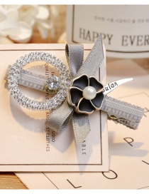 Elegant Gray Hollow Out Round Shape Decorated Hairpin