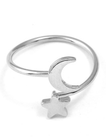 Fashion Silver Color Star&moon Shape Decorated Ring
