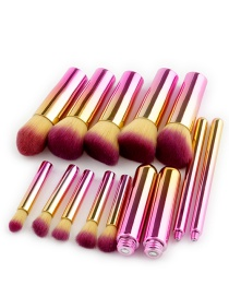 Fashion Pink+yellow Round Shape Decorated Makeup Brush ( 10 Pcs )