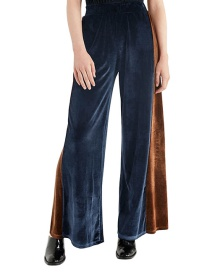 Fashion Navy Blue Color Matching Decorated Ultra-wide-leg Trousers