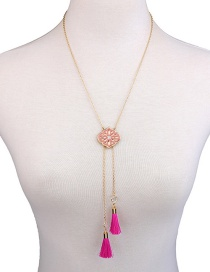 Fashion Gold Color+plum Red Tassel Decorated Necklace
