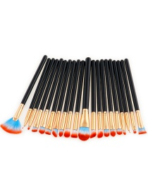 Fashion Red+blue+black Sector Shape Decorated Makeup Brush ( 20 Pcs)