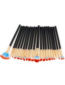 Fashion Red+blue+black Sector Shape Decorated Makeup Brush ( 20 Pcs)