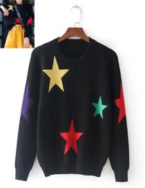 Fashion Black Star Pattern Decorated Sweater