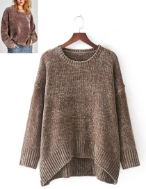 Fashion Coffee Pure Color Decorated Sweater