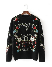 Fashion Black Flower Pattern Decorated Sweater
