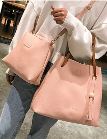 Fashion Pink Pure Color Decorated Shoulder Bag (2 Pcs )