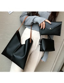 Fashion Black Pure Color Decorated Shoulder Bag ( 3pcs)