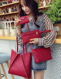 Fashion Claret Red Pure Color Decorated Handbag ( 4 Pcs)
