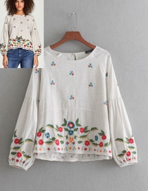 Fashion White Flower Pattern Decorated Shirt