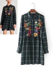 Fashion Green Flower Pattern Decorated Shirt