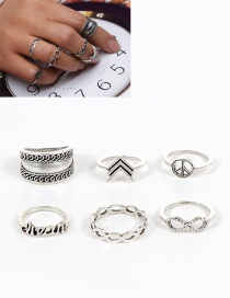 Fashion Silver Color Letter Shape Decorated Ring ( 6 Pcs)
