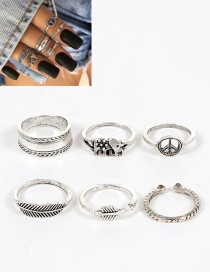Fashion Silver Color Elephant&leaf Shape Decorated Ring ( 6 Pcs)